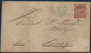 Norddeutscher Bund Brief 4 Dresden nach Leipzig blauer K2 21.7.1868