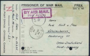 Kriegsgefangenenpost KGF Luftpost Prisoner of War portofrei Kanada Wilhelmshaven