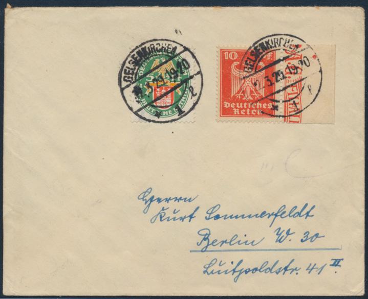 Deutsches Reich Brief MIF Nothilfe Adler 357 Zierrand + 425 Gelsenkirchen  0
