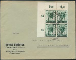 Deutsches Reich Brief MEF 662 Bogenecke Viererblock Oberurbach nach Uhingen