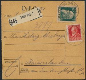Deutsches Reich Paketkarte MIF Bayern 84 II + 96Ia Fürth nach Kaiserslautern