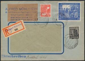 All. Besetzung R-Brief MIF 943c+945a+966a Behelfs-R-Zettel Stuttgart Botnang