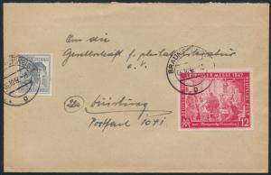 Alliierte Besetzung Brief MIF 947+965 Braunschweig nach Duisburg 6.10.1947