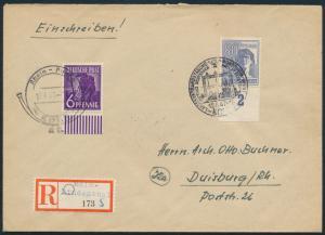 Alliierte Besetzung R-Brief 944+957 Behelfs-R-Zettel Philatelisten Köln Duisburg