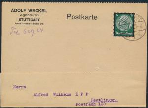 Deutsches Reich Postkarte EF 550 Stuttgart Reutlingen betr. Gramola Gerät Musik