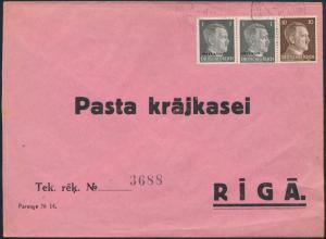 Brief Deutsches Reich Besetzung II. WK Ostland 1 MIF mit DR nach Riga 24.12.1923