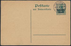 Deutsches Reich Oberbefehlshaber Ost Ganzsache P 5 F/A kpl. Blanko-St. Wilna