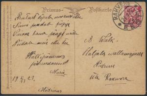 Estland Postkarte 35 A Rakvere nach Poelruse 24.1.1923 Künstler Bach Wald