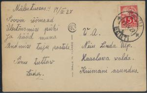 Estland Postkarte 37 A Tartu nach Haaslawa 12.4.1927 Foto Ostern