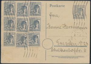 Besetzung Ganzsache Zehnfachfrankatur MEF P 962 + ZuF 947 Freital nach Dresden