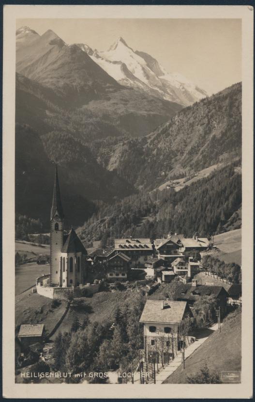 Ansichtskarte Foto Heiligenblut mit Grossglockner nach Dresden 1931 Kirche 0