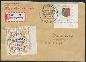 Bund Brief R-Brief 1432 Viererblock + 1663 Bogenecke SST Regensburg nach Köln
