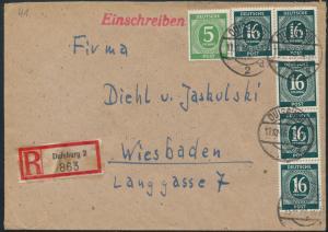 Alliierte Besetzung R-Brief MIF 915a+923 Streifen Duisburg nach Wiesbaden