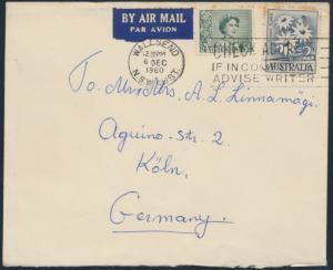 Australien Brief Luftpost MIF 289+299 Wallsend N.S.W. nach Köln 6.12.1960