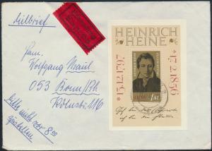 DDR Brief Eilbrief Block 37 Radebeul nach Bonn 12.12.1972