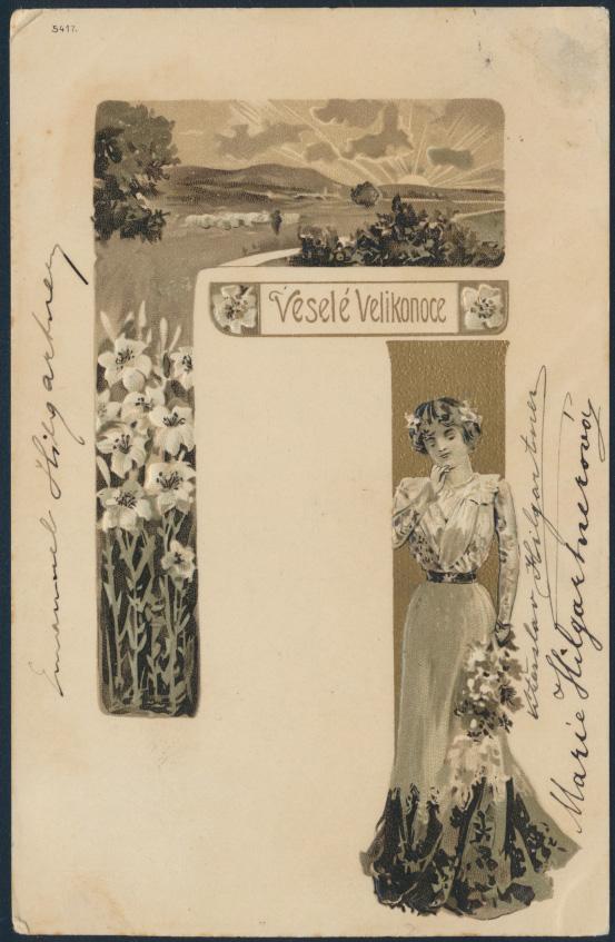 Ansichtskarte Prägek. Jugendstil Blumenmädchen Moldautheim Týn nad Vltavou 1903 0