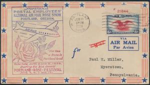 USA Brief Flugpost 442 + Oberrand - Nr. Portland Oregon Myerstown Penn Flugzeug