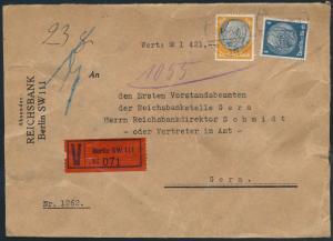 Deutsches Reich Brief Wertbrief MIF 514+528 Berlin nach Gera mit wunderbar er -