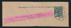 Österreich Privatganzsache Streifband Wien nach Hamburg 5 H. Franz Joseph Wien60