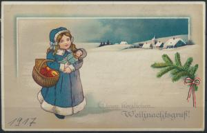 Ansichtskarte Künstler Weihnachtsgruß Kind mit Puppe Neustadt nach Berkhof
