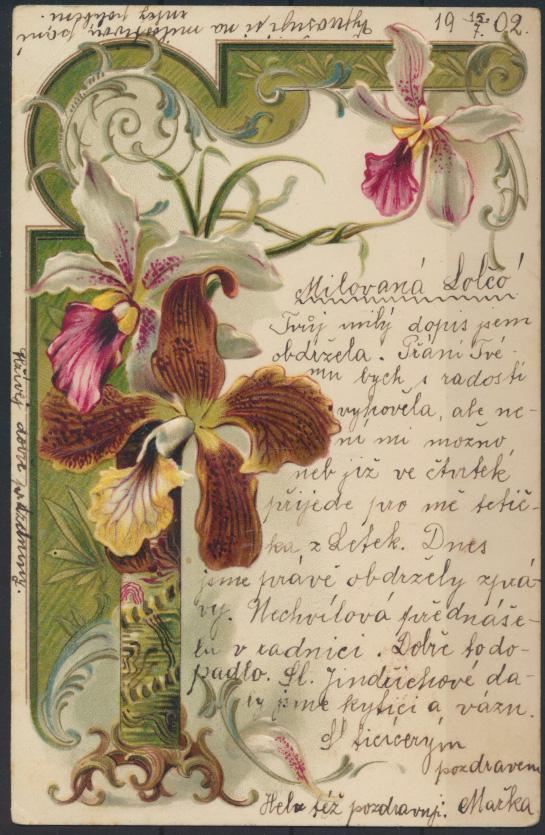 Ansichtskarte Österreich-Ungarn Prägekarte Blumenranke 1902 0