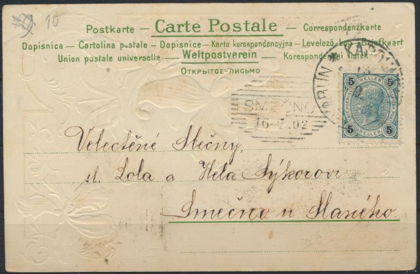 Ansichtskarte Österreich-Ungarn Prägekarte Blumenranke 1902 1