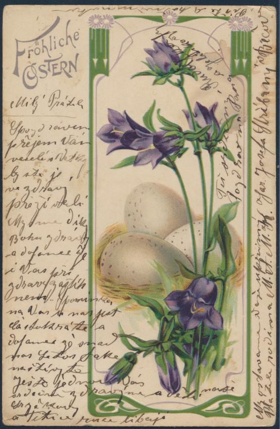 Ansichtskarte Österreich-Ungarn Künstler Ostern Frühlingsblume Eier  0