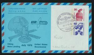 Flugpost airmail Berlin Ganzsache SST Flughafen Tegel Viking Mars Landing USA