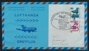 Lufthansa Flugpost airmail Berlin Privatganzsache SST München Erstflug Damascus