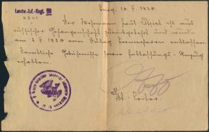 Zeitdokument 1. Weltkrieg Bestätigung Rückkehr Kriegsgefangenschaft u Entlassung