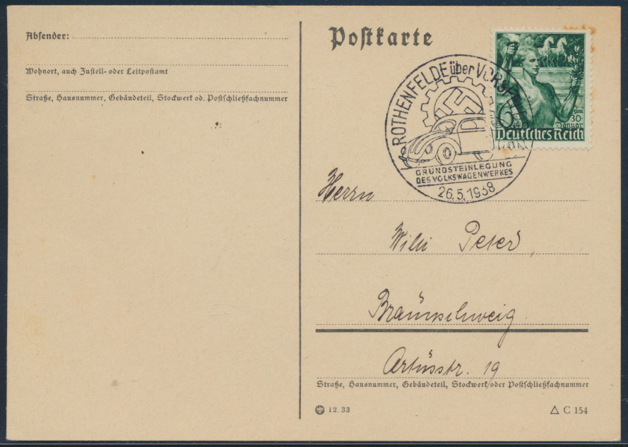 Deutsches Reich Postkarte 660 SST Rothenfelde Braunschweig Auto VW Volkswagen  0