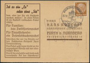 Deutsches Reich Postkarte Reklame 513X SST Auto Ausstellung Rudloff Lebkuchen
