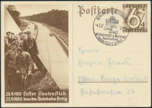 Deutsches Reich Ganzsache P 263 SST Auto -u. Motorrad Ausstellung Autobahnbau