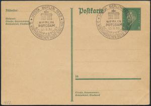 Reich Ganzsache P 181 selt. SST IPOSTA Berlin Potsdam Schiffspost Wintermärchen