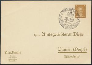 Dt. Reich Privatganzsache PP 97 B6/024 selt. SST IPOSTA Schiffspost nach Plauen
