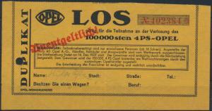 Deutsches Reich Los Verlosung des 100000sten 4 PS Opel Auto mit Wasserzeichen
