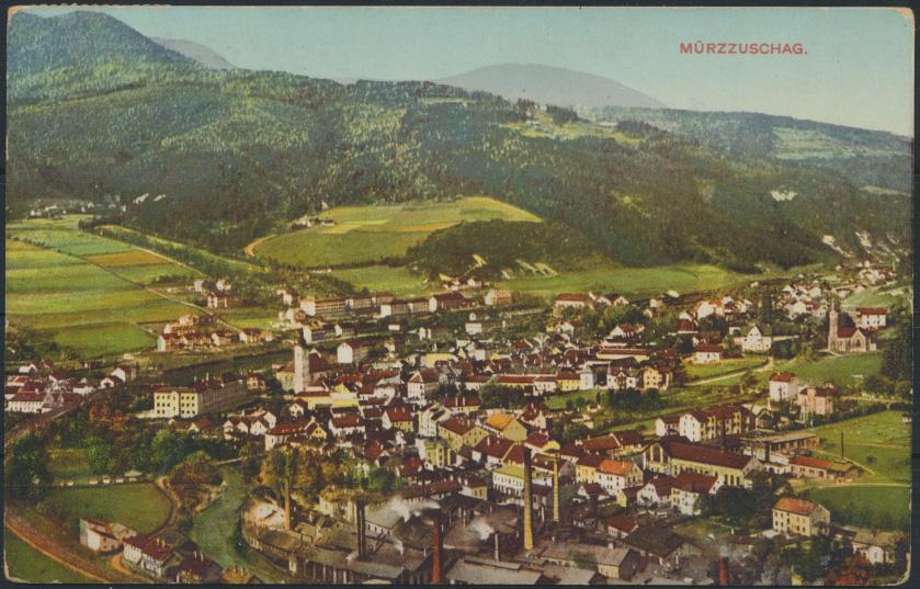 Ansichtskarte Foto Österreich Panorama Mürzzuschag nach Wien 16.6.1911  0