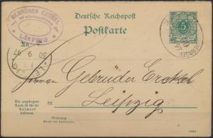 Deutsches Reich Ganzsache P 31 Fragekarte Bahnpost Saalfeld Großherringen Zug 59