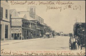 Bermuda Ansichtskarte 22 Hamilton nach New York City Front Street Kutsche