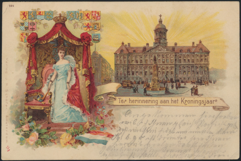 Ansichtskarte Niederlande Litho Erinnerung Krönungsjahr Königin Verlag Schäfer 0