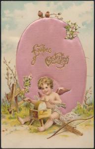 Ansichtskarte Glückwunsch Ostern sehr schön + selten mit Seide Osterei Hemsbach