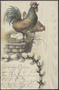 Ansichtskarte Glückwunsch Ostern Hahn Hühner Geflügel Tiere Bremen Maastricht