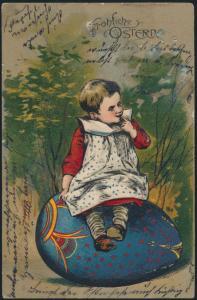 Ansichtskarte Prägekarte Glückwunsch Ostern Kinder tolle Farben Mängel 1905
