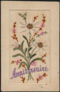 Ansichtskarte Seidenkarte Blumen selten so gut erhalten Anniversaire Geburtstag