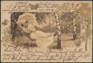 Ansichtskarte Gold - Prägekarte Jugendstil Art Nouveau Künstler Frauen Chemnitz