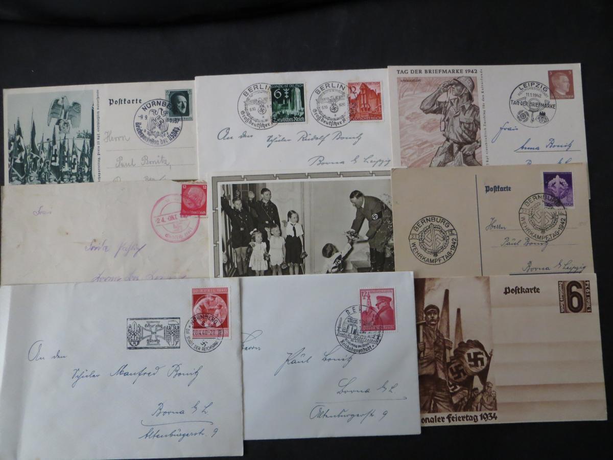 Sammlung 3. Reich + Gebiete Briefe Ganzsachen Ansichtskarten Propaganda  2