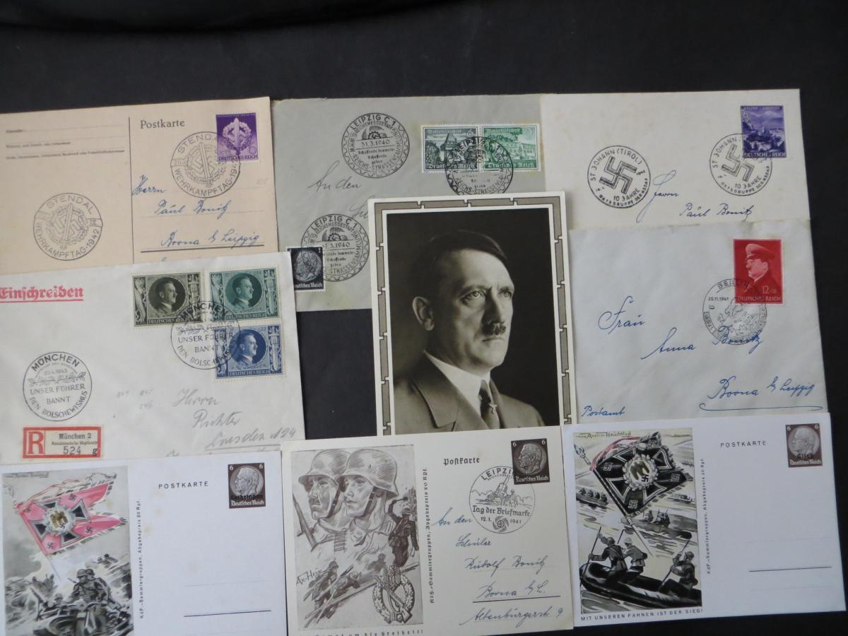 Sammlung 3. Reich + Gebiete Briefe Ganzsachen Ansichtskarten Propaganda  4