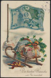 Ansichtskarte Jugendstil Banknote Glückwunsch Neujahr Winter Schlitten Feldpost