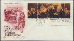 USA Brief 1278-1281 FDC 200 Jahre Unabhängigkeit Philadelphia 4.7.1976