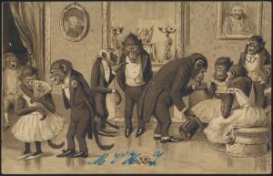 Ansichtskarte Tiere personifizierte Affen Haarlem Nieferlande Haarlemmerliede